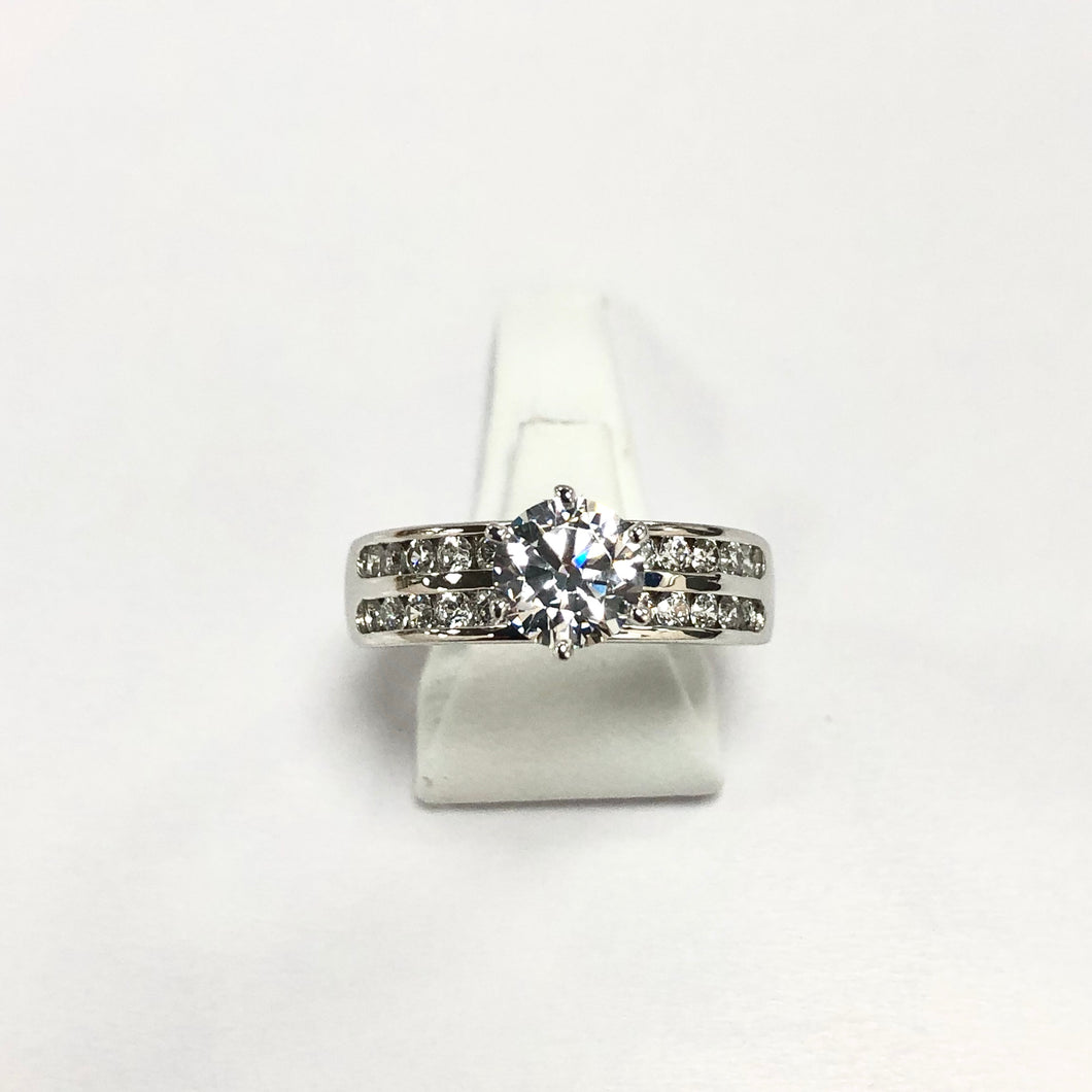 White Gold Hallmarked Cubic Zirconia Ring - Product Code - VX521