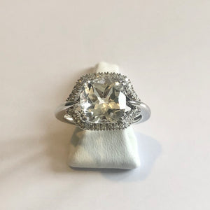 White Gold Hallmarked White Topaz Ring - Product Code - G225