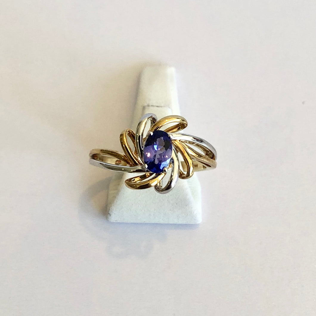 White & Yellow Gold Hallmarked Tanzanite Ring - Product Code - A320