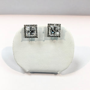 White Gold Hallmarked 375 Stone Set Earrings Product Code - VX88
