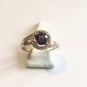 Yellow Gold Hallmarked Amethyst & Diamond Ring - Product Code - A135