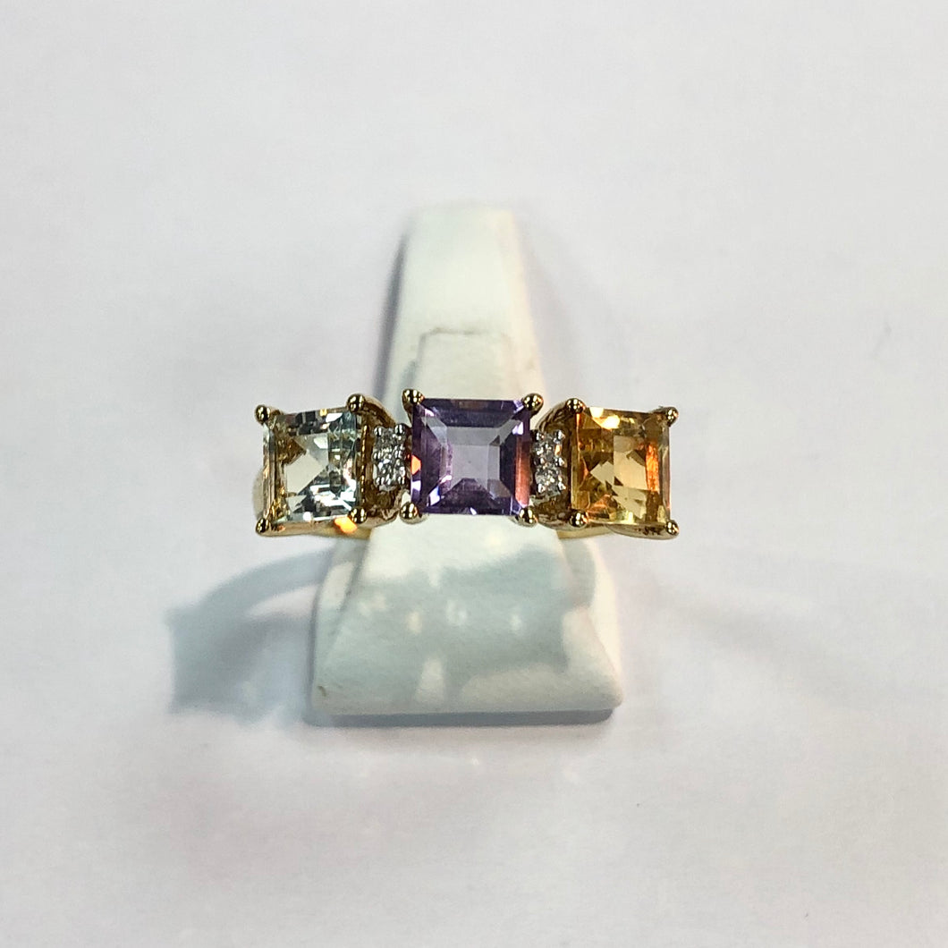 Yellow Gold Hallmarked Amethyst Citrine & Peridot Ring - Product Code - F750