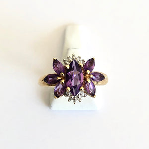 Yellow Gold Hallmarked Amethyst & Diamond Ring - Product Code - H16