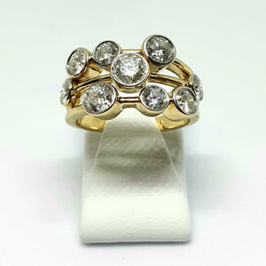 Yellow Gold Hallmarked 2ct Diamond Bubble Ring - Product Code - E578