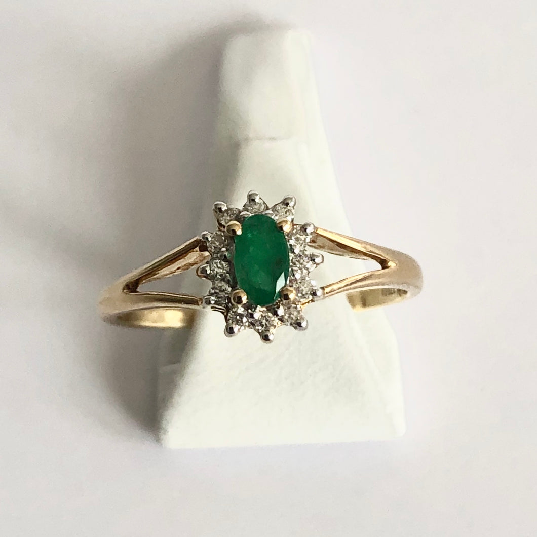 Yellow Gold Hallmarked Emerald & Diamond Ring - Product Code - A312