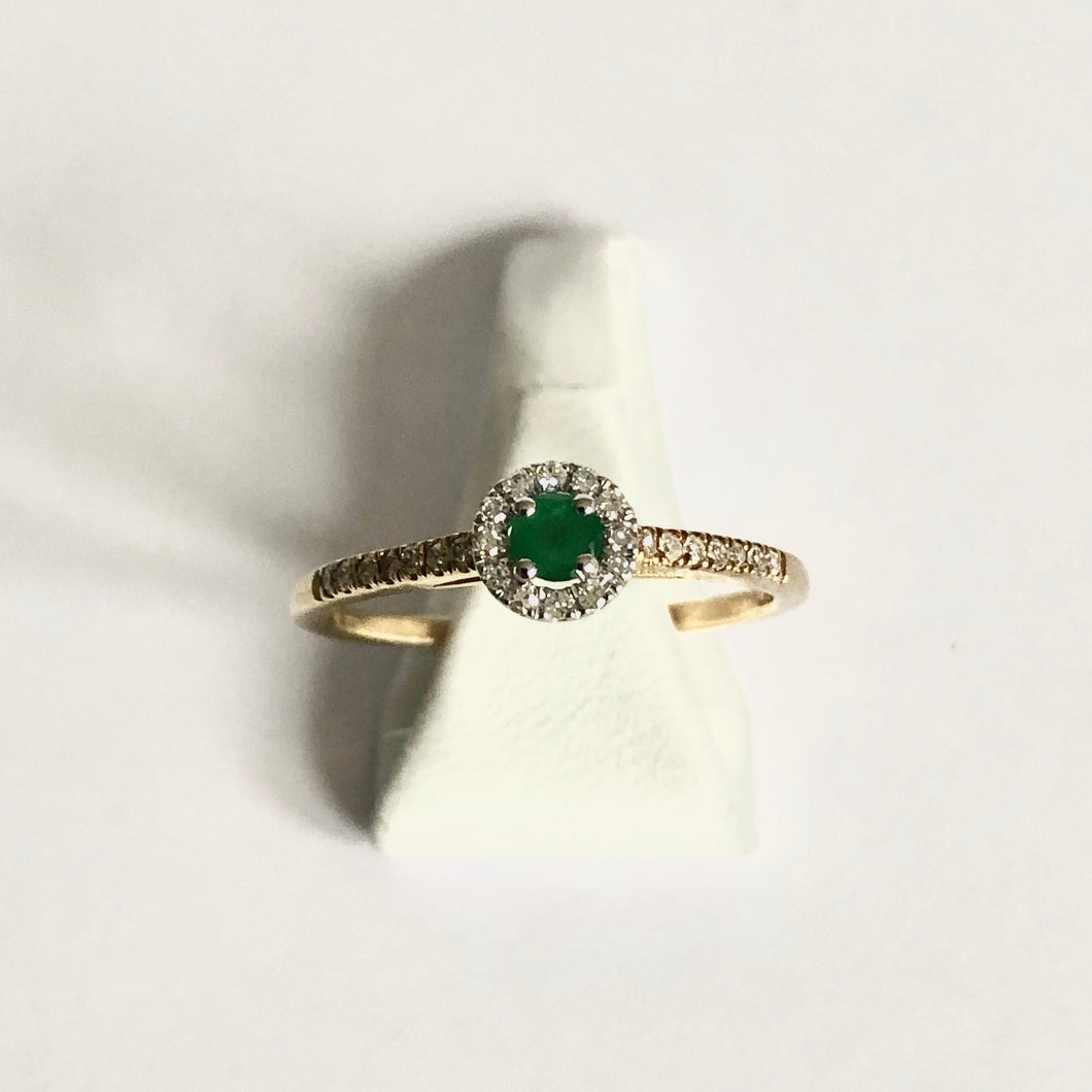 Yellow Gold Hallmarked Emerald & Diamond Ring - Product Code - A327