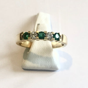18ct Yellow Gold Hallmarked Emerald & Diamond Ring - Product Code - AA81