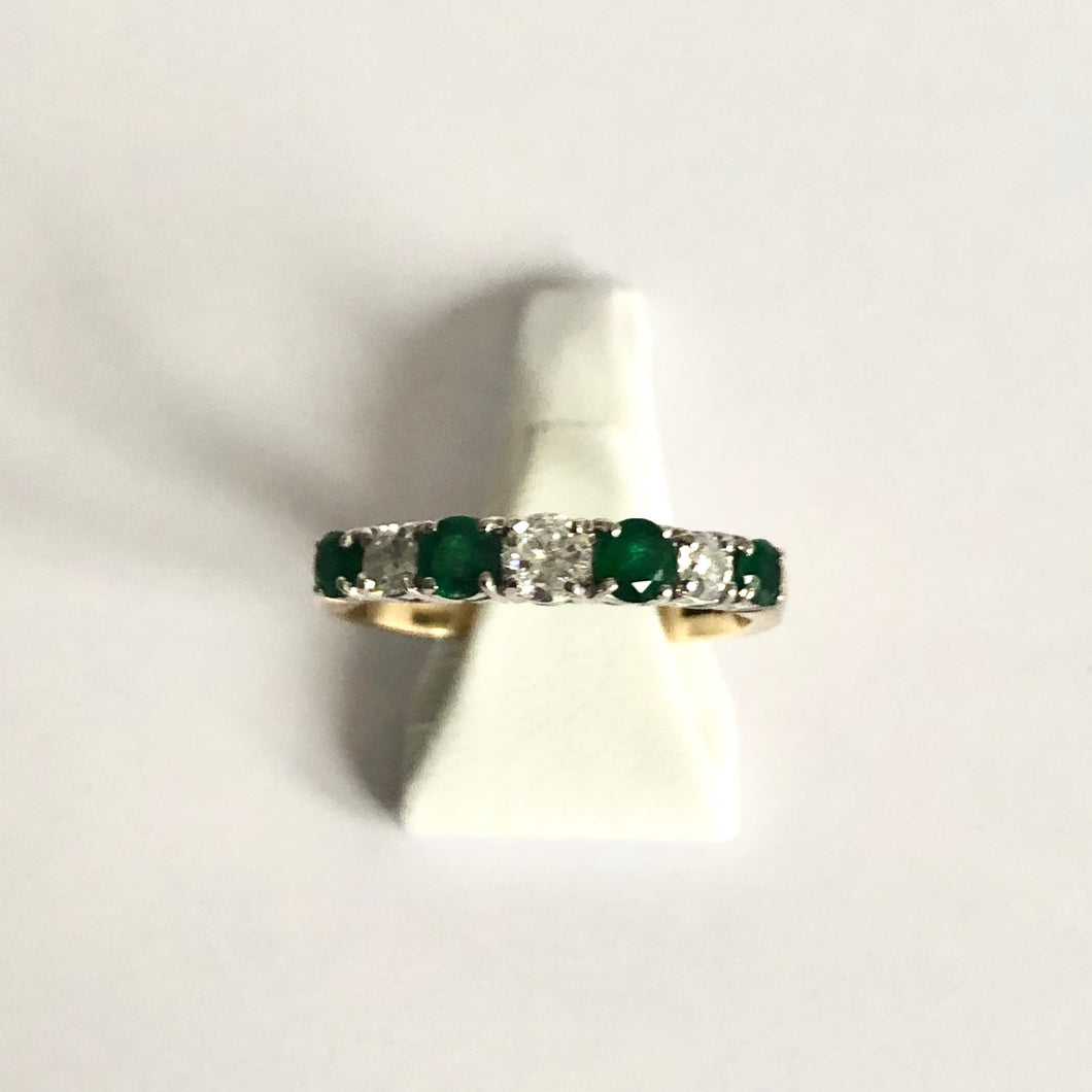 Yellow Gold Hallmarked Emerald & Diamond Ring - Product Code D207