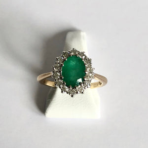 Yellow Gold Hallmarked Emerald & Diamond Ring - Product Code - J115