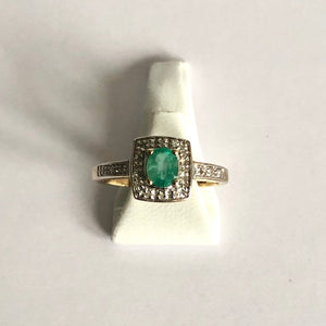 Yellow Gold Hallmarked Emerald & Diamond Ring - Product Code - J302
