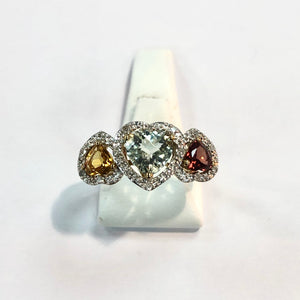 Yellow Gold Hallmarked Multi Stone Ring - Product Code - F118