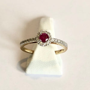 Yellow Gold Hallmarked Ruby & Diamond Ring - Product Code - A188