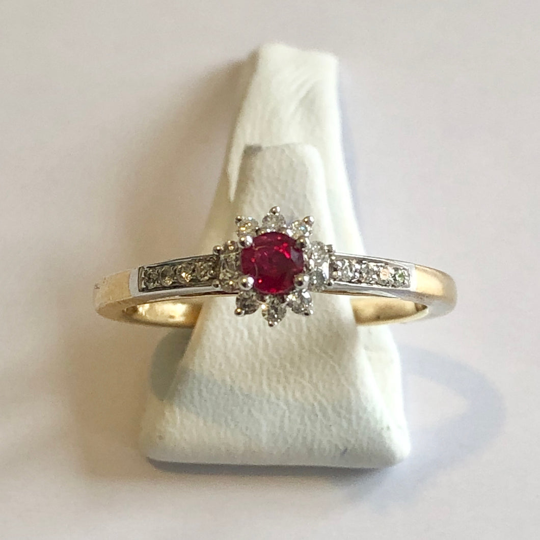 Yellow Gold Hallmarked Ruby & Diamond Ring - Product Code - A330