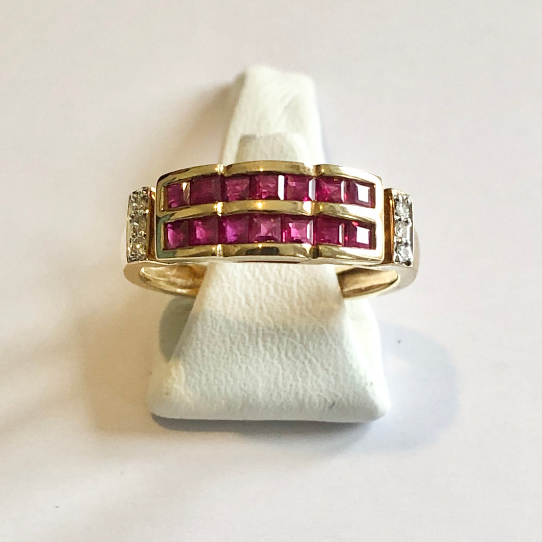 Yellow Gold Hallmarked Ruby & Diamond Ring - Product Code - F115