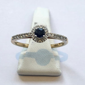 Yellow Gold Hallmarked Sapphire & Diamond Ring - Product Code - A26