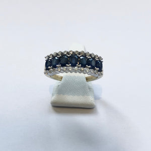 Yellow Gold Hallmarked Sapphire & Diamond Band Ring - Product Code - E539