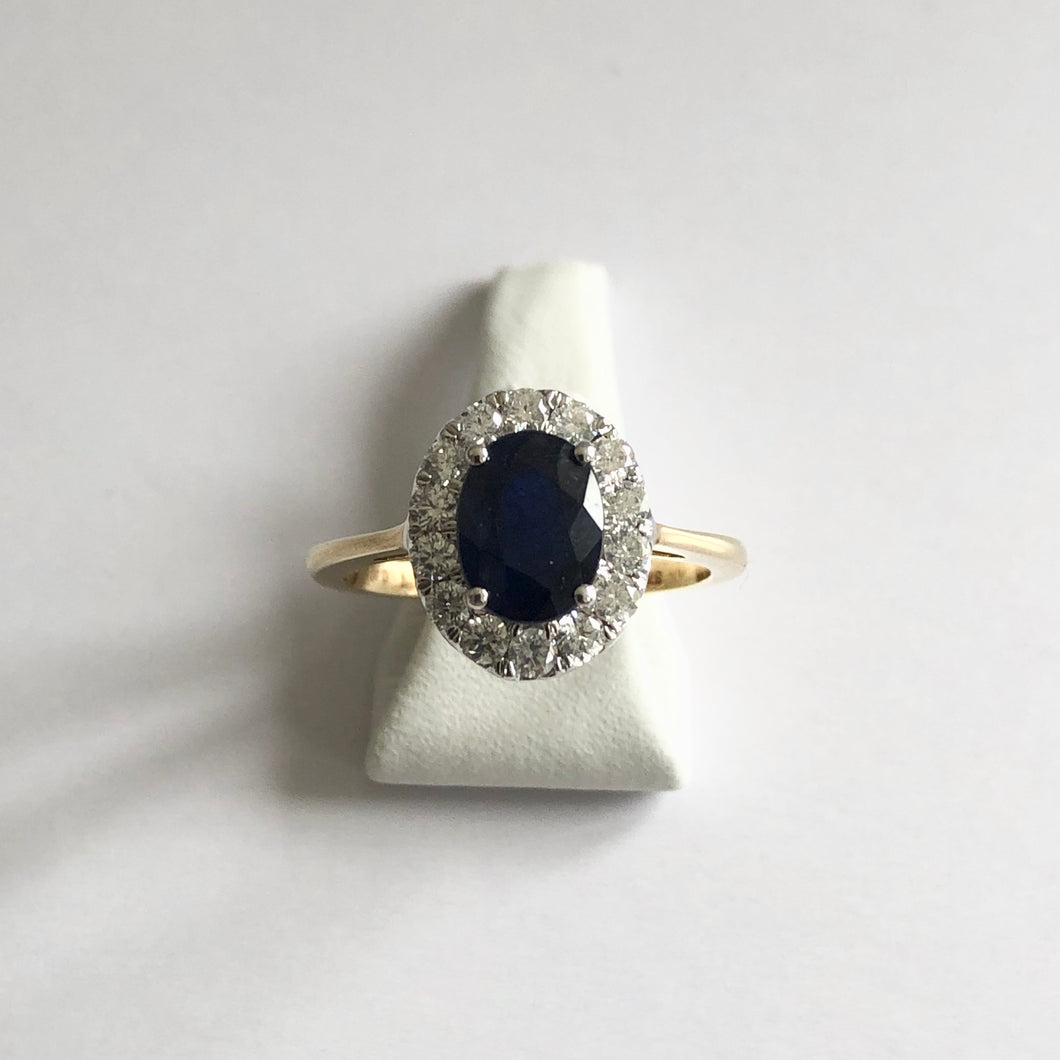 Sapphire & Diamond Hallmarked Yellow Gold Ring - Product Code - E542