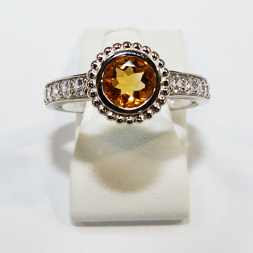 Citrine Beaded Silver Ring