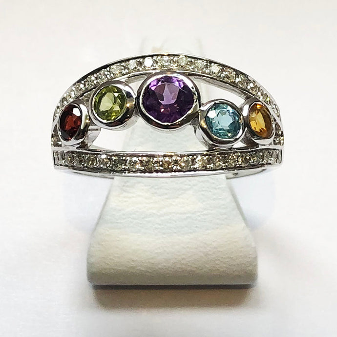 Diamond, Amethyst, Citrine, Blue Topaz and Peridot White Gold Ring