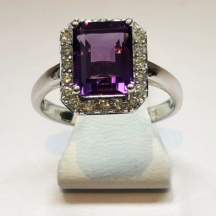 Diamond And Amethyst White Gold Ring