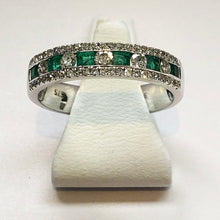 Load image into Gallery viewer, Diamond And Emerald White Gold Ring Band - Product Code J120
