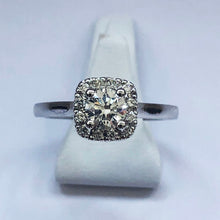 Load image into Gallery viewer, Diamond White Gold Halo Solitaire Ring