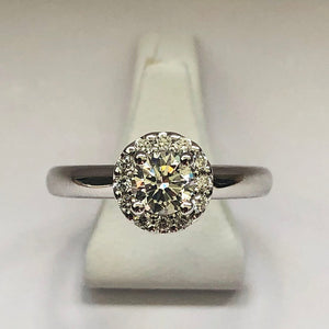 Diamond White Gold Halo Solitaire Ring