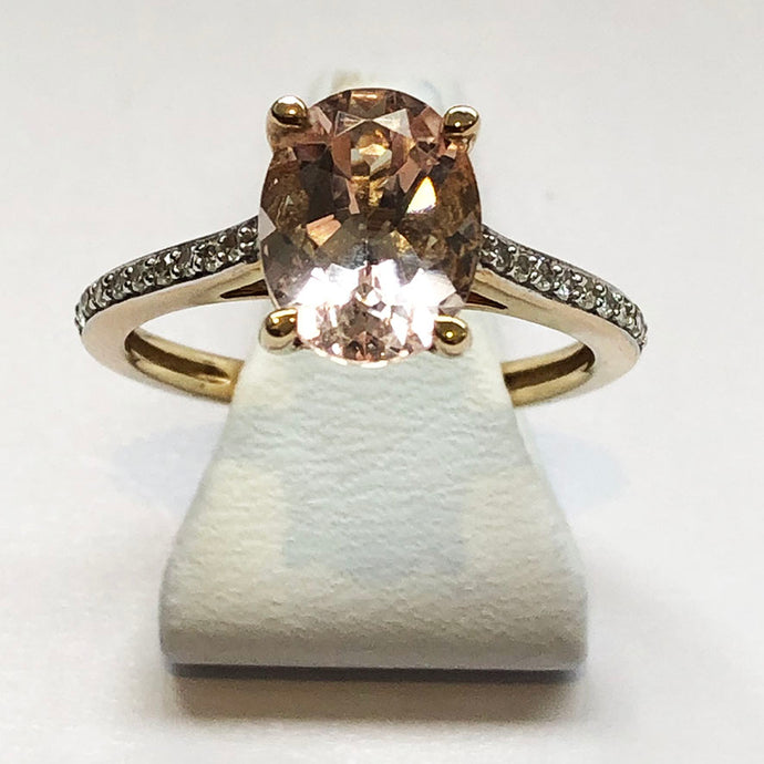 Diamond and Morganite White Gold Ring