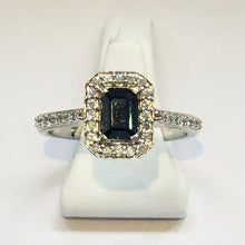 Load image into Gallery viewer, Diamond and Sapphire White Gold Ring