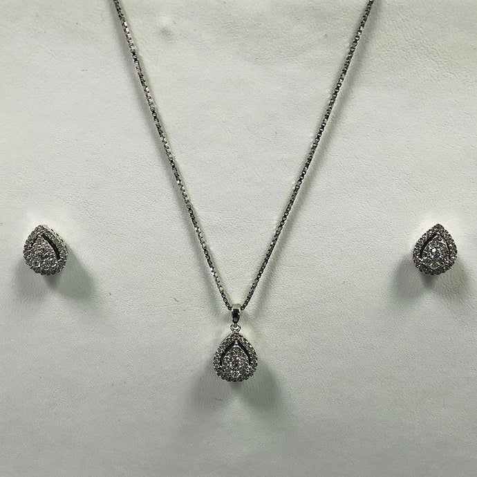 Diamond White Gold Earring And Pendant/Necklace Set