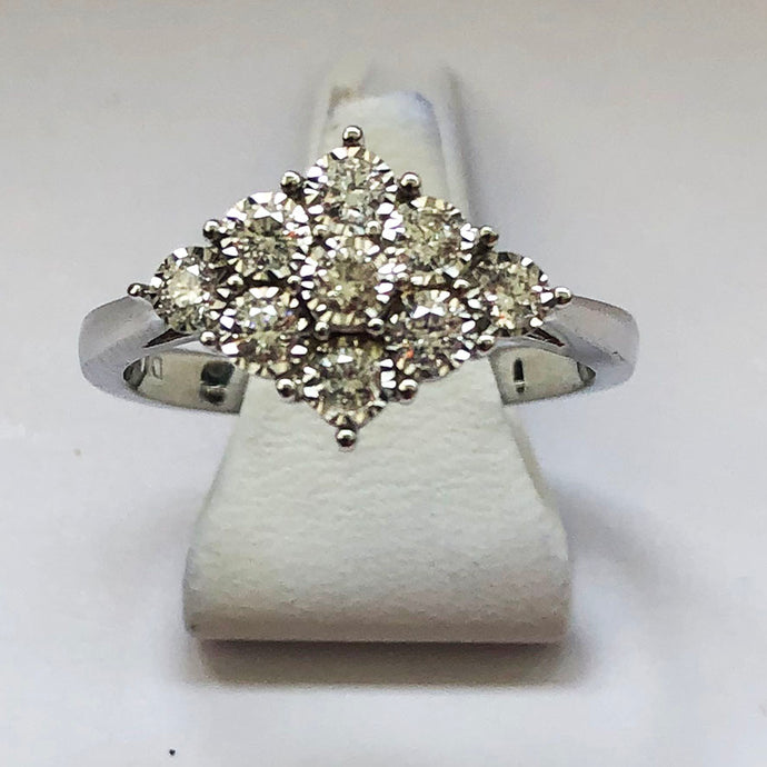 Diamond White Gold 9 Stone Ring