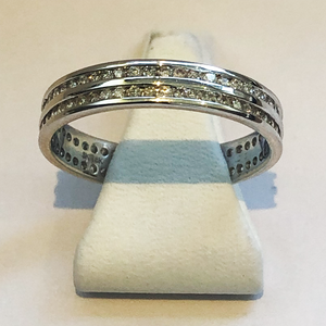 Diamond White Gold Full Double Band Wedding Ring