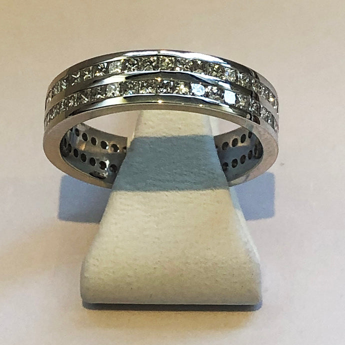 Diamond White Gold Two Row Full Band Wedding Ring