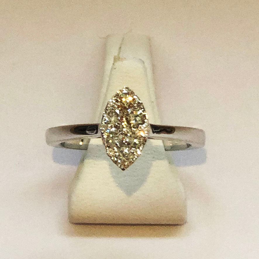 Diamond White Marquise Gold Ring Band