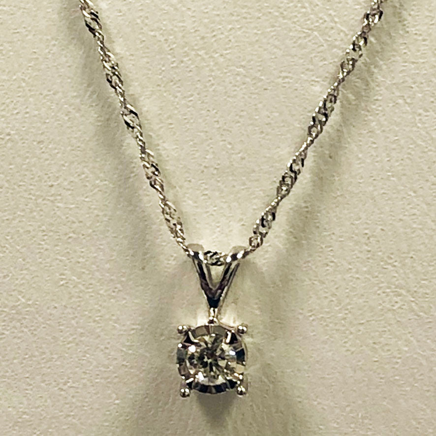 Diamond White Gold Pendant / Necklace