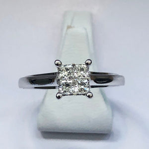 Diamond White Gold Princess Cut Ring - Product Code - B423