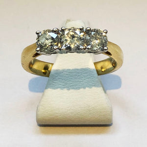 Diamond Yellow Gold Trilogy Three Stone Ring