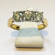 Load image into Gallery viewer, Diamond Yellow Gold Trilogy Three Stone Ring