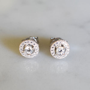 Halo Silver Stud Earrings