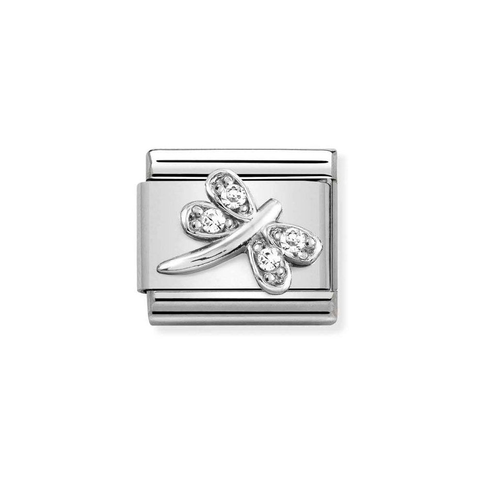 Nomination Silver & White CZ Dragonfly Charm - Product Code - 330304-38