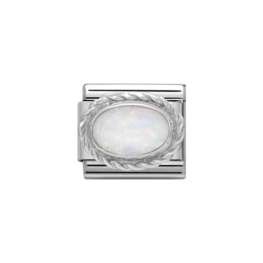 Silver Oval White Opal Birthstone - Product Code - 330503-07