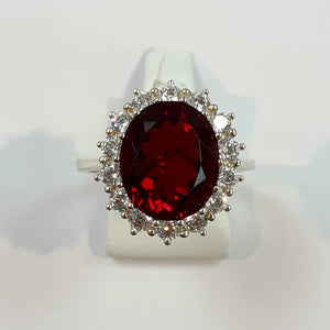 Silver Hallmarked Red & White Stone Ring Product Code - VX721
