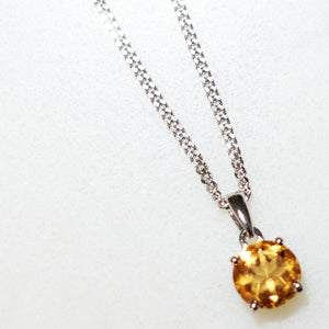 Citrine Round Pendant Necklace