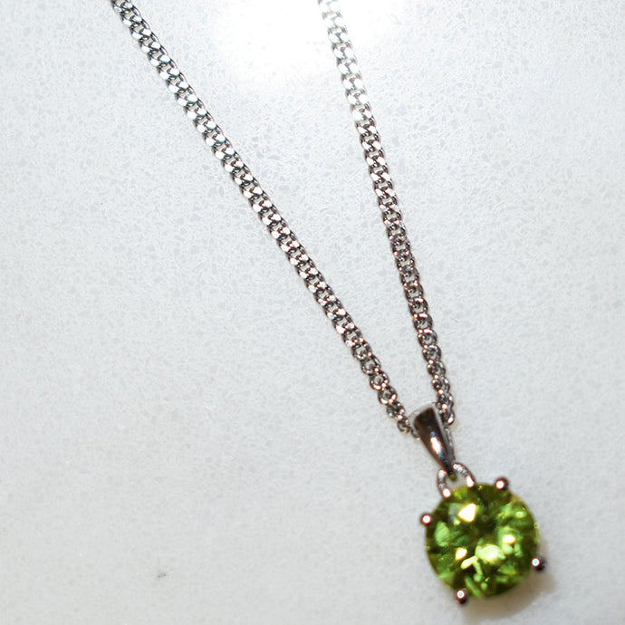 Peridot Round Pendant Necklace