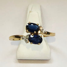 Load image into Gallery viewer, Diamond and Sapphire Yellow Gold Trilogy Ring