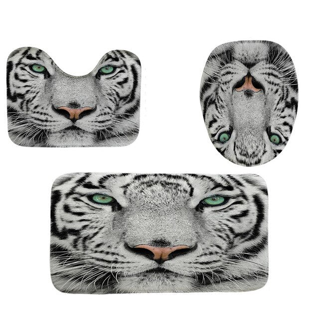3Pcs Bath Mats Bathroom Carpet Tiger animal Pattern Non-slip water absorption Bathroom Flannel Toilet Seat Cover Set L0605