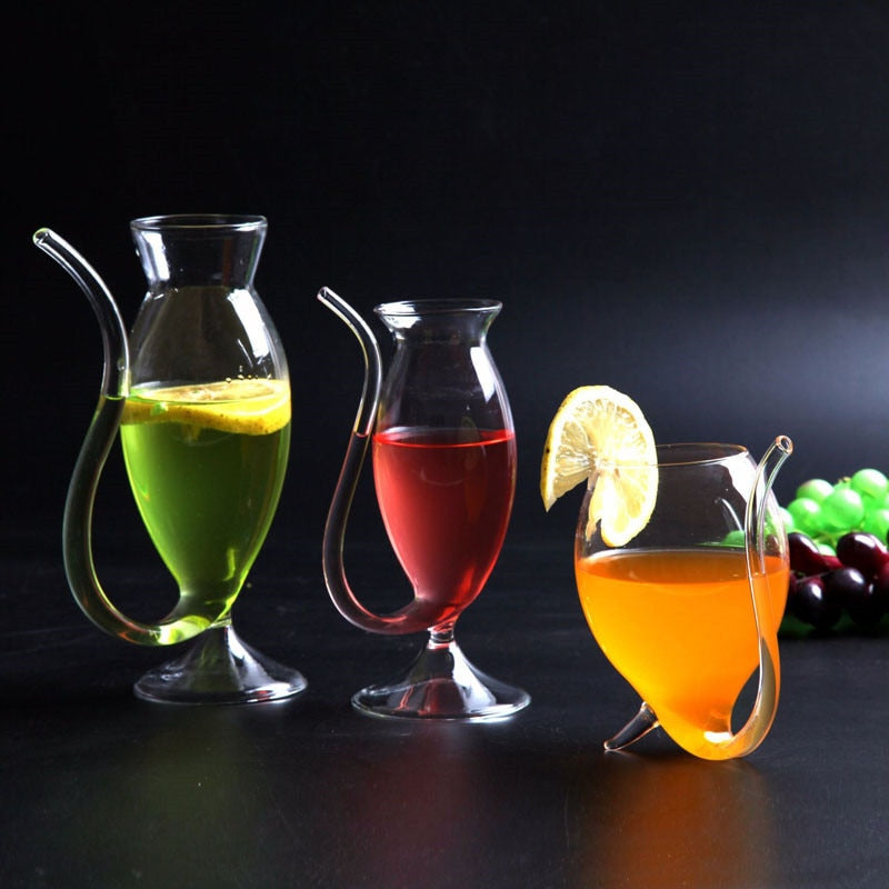 2019 Hot Wine Glass Cup Clear Glassware Mug Cocktail Straw Cup With Built In Drinking Tube Straw For Home Kitchen Bar Party