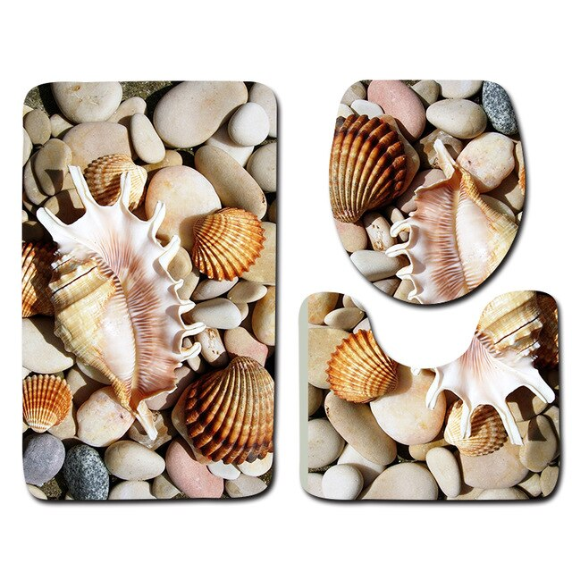 3pcs Seaside Bath Mat Set Beach Starfish Printed Shower Bathroom Mat Carpet Home Decor Anti Slip Toilet Lid Cover Rug Floor Mats