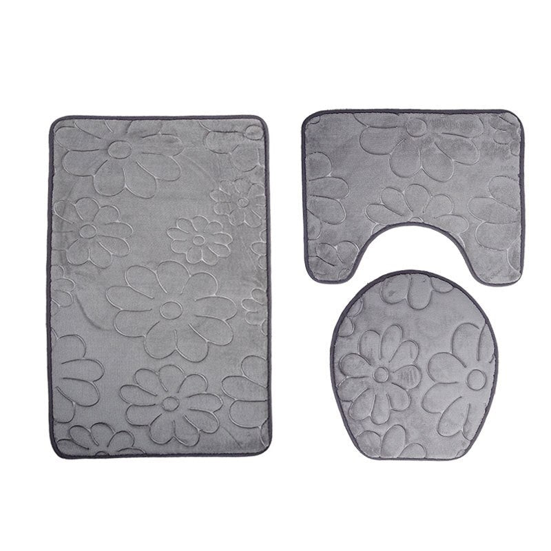 Embossed Bathroom Bath Mat Set