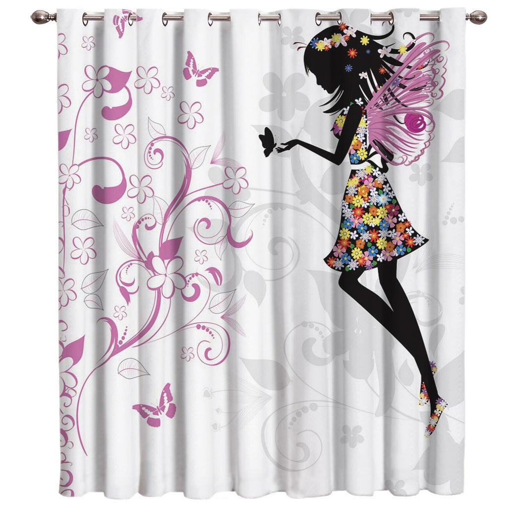 Flower and Girl Window Curtains